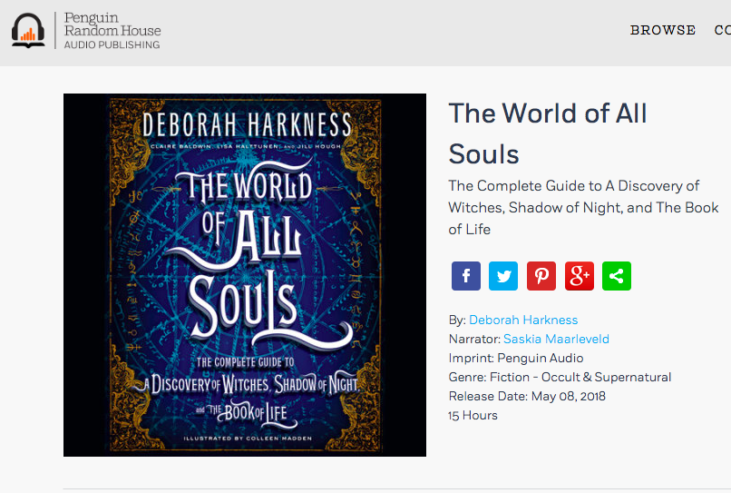 Did you know you'll be able to *listen* to THE WORLD OF ALL SOULS?